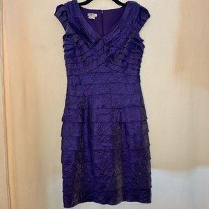 Purple Metallic Midi Dress From London Times-Size8
